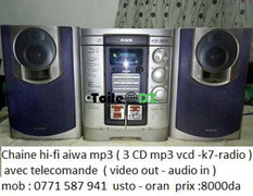 Chaine hi-fi aiwa mp3 3 CD mp3 vcd k7 radio avec telecomande audio in video out mob