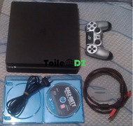 PS4 SLIM+CD ORIGINAL+MANETTE ORIGINALE état 10/10